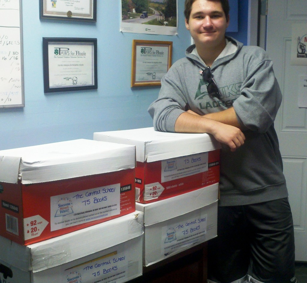Matt McNeill with complete books for The Central School, 4-21-2013, Success Won't Wait