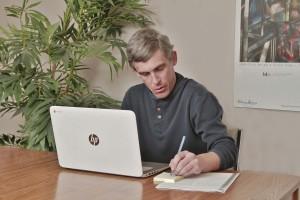 2015, John at computer