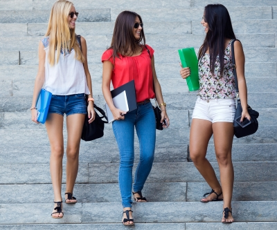 College Girls on Steps
