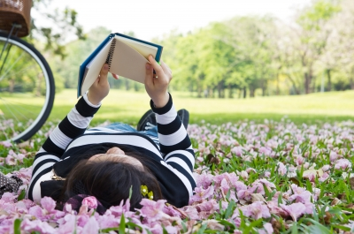 Reading in the flowers