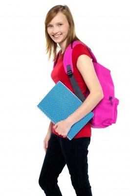 Teen with red backpack